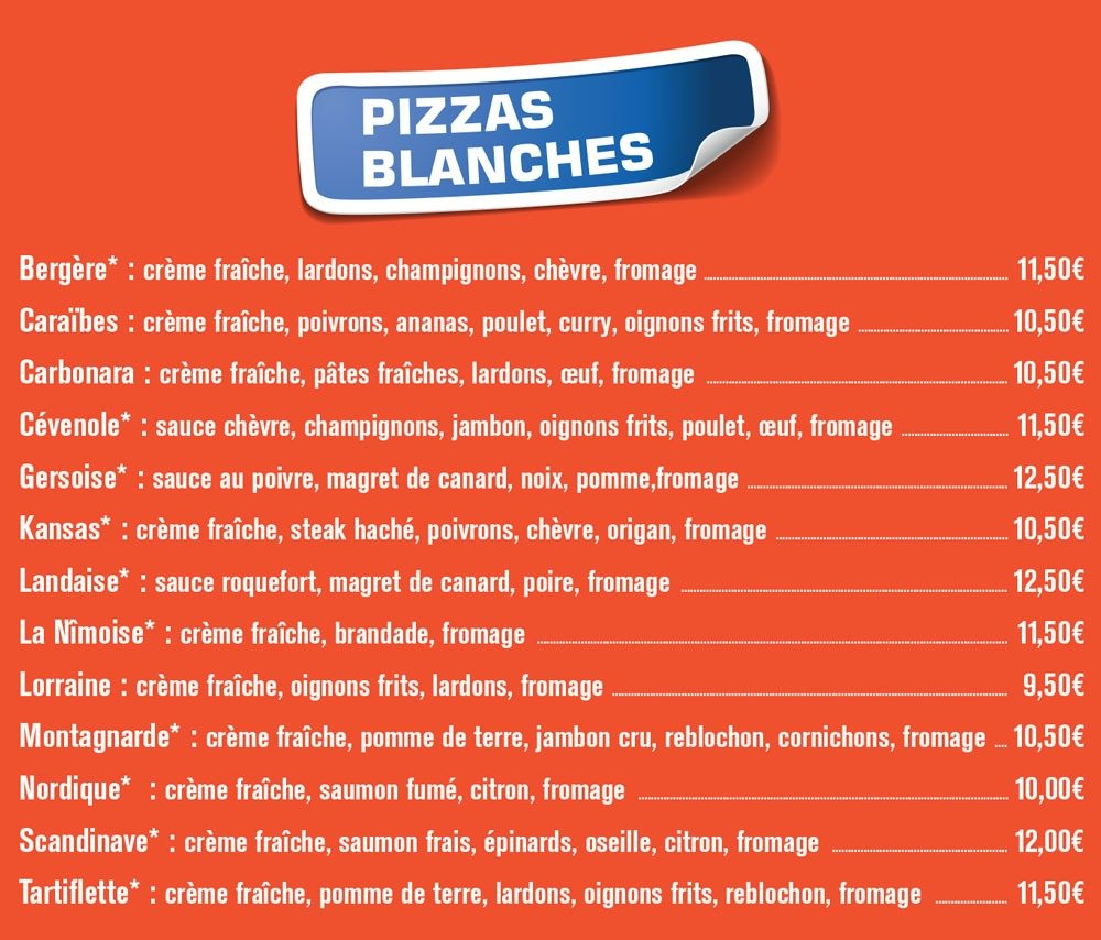 pizzas blanches